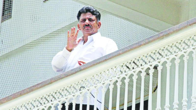 Karnataka minister D.K. Shivakumar at his home in Bengaluru on Wednesday. (Photo: Asian Age)