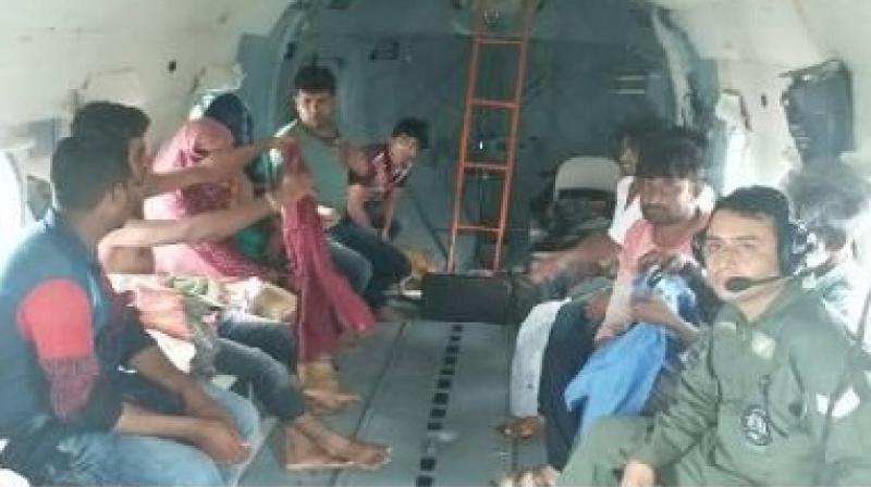 As soon as a message about need to evacaute two women who were in critical condition and `about to deliver' was received at 4.30 pm, a Chetak helicopter was sent from Jamnagar, said Defence spokesperson Abhishek Matiman in a release. (Photo: AFP)
