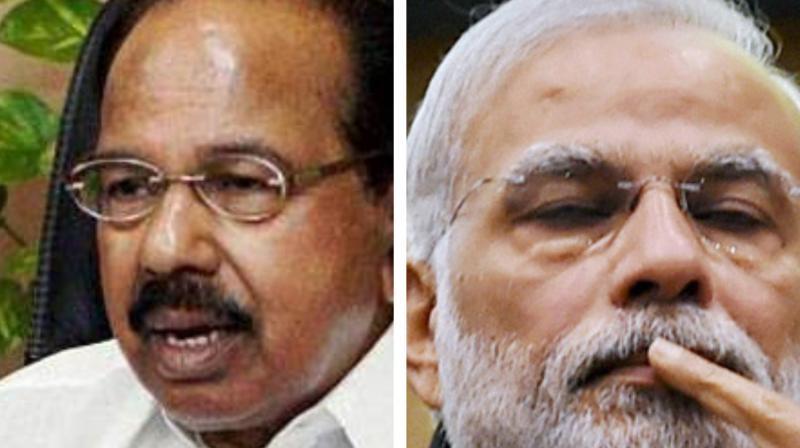 Congress party veteran M Veerappa Moily (L) and Prime Minister Narendra Modi (Photo: PTI)