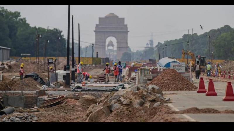 Construction work underway as part of the Central Vista Redevelopment Project, at Rajpath in New Delhi, Thursday, May 6, 2021. (Photo: PTI)