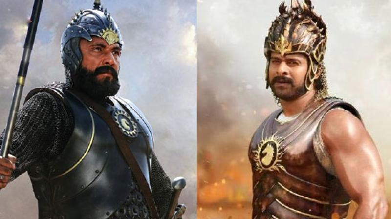 Sathyaraj as Katappa and Prabhas as Baahubali in the 'Baahubali' franchise.