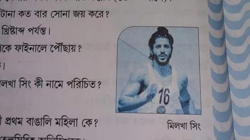 The 44-year-old actor, who essayed the role of Milkha Singh in the 2013 biopic 'Bhaag Milkha Bhaag', took to Twitter to point out that a still from the film had been incorrectly used in the book instead of the athlete's photo. (Photo: Twitter | @Lyfeghosh)