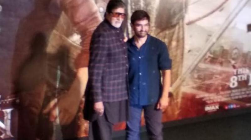 Amitabh Bachchan and Aamir Khan at Thugs Of Hindostan trailer launch. (Photo: Shaheen Irani)