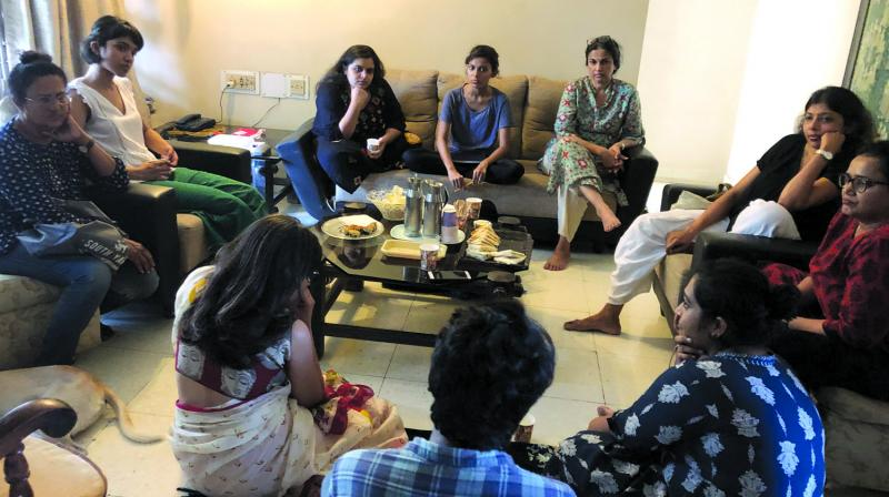 Participants engaged in conversation during a Talking Death session.