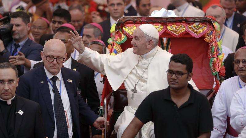 Francis arrived in Dhaka on Thursday from Myanmar, where he walked a diplomatic tightrope, publicly avoiding allegations that the army is waging an ethnic cleansing campaign against the Rohingya. (Photo: AP)