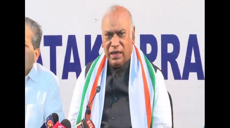 File image of Congress leader Mallikarjuna Kharge. (ANI)