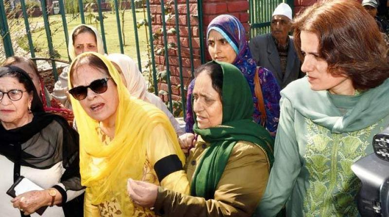 On Tuesday, half a dozen women activists including the sister and daughter of former chief minister Farooq Abdullah were arrested during a protest against abrogation of provisions of Article 370. (Photo: AFP)