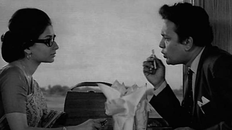 Sharmila Tagore and Uttam Kumar in a scene from the film Nayak