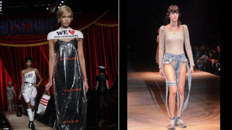 Both the dry cleaner dress and thong jeans failed to make a mark beyond the runway this year. (Photo: AP)
