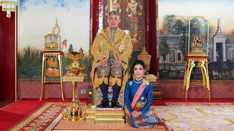 Thai King Maha Vajiralongkorn with royal noble consort Sineenat Bilaskalayani, also known as Sineenat Wongvajirapakdi. (Photo: AFP)