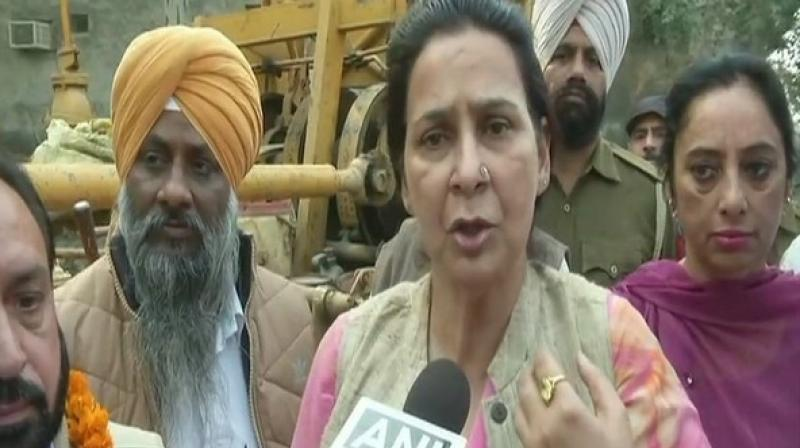 Navjot Kaur said, 'Navjot ji has repeatedly said that Captain Sahab is like his father. We have always made it clear that Captain Sahab's respect and honour is above everything. Sidhu's statements should be read as a whole and not in incomplete bits.' (Photo: ANI )
