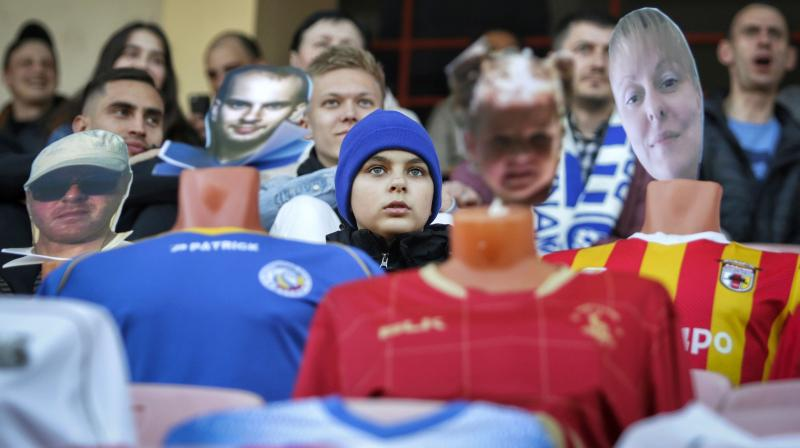 In this photo taken on Wednesday, April 8, 2020, spectators sit among the many mannequins in the stands during a soccer match between FC Dynamo Brest and FC Shakhter Soligorsk in Brest, Belarus. AP Photo