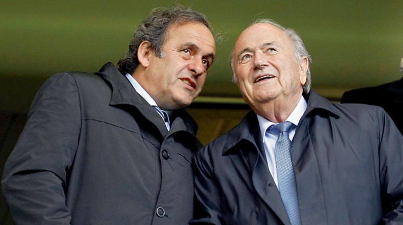 Former FIFA boss Sepp Blatter with former UEFA chief Michel Platini. DC File Photo