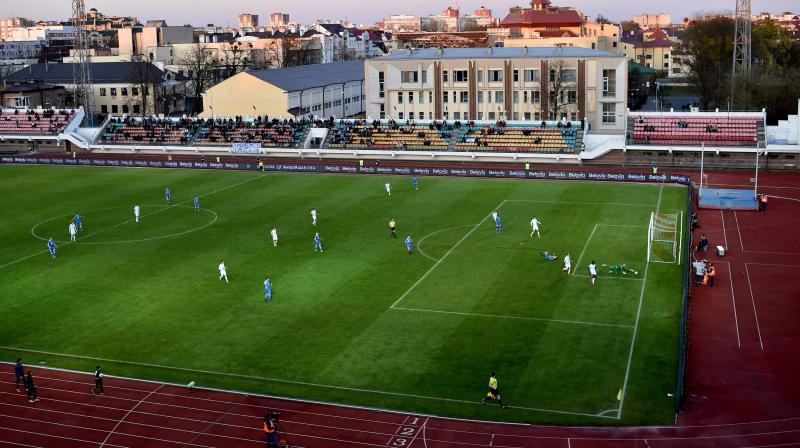 League match between FC Dynamo-Brest and FC Isloch is on in the town of Brest, some 370 km southwest of Minsk, in Belarus on April 12, 2020. AFP Photo