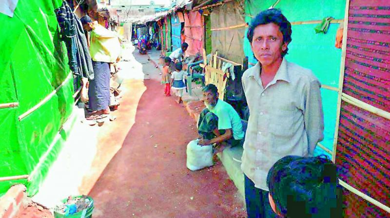 A view of the inhuman conditions insides a Rohingya camp in the city. There are 70 such camps where about 4,000 Rohingyas live. (Photo: P. Surendra)