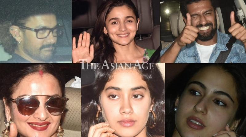 Several Bollywood stars turned up for a screening of Alia Bhatt and Vicky Kaushal starrer 'Raazi' held in Mumbai on Wednesday. (Photo: Viral Bhayani)
