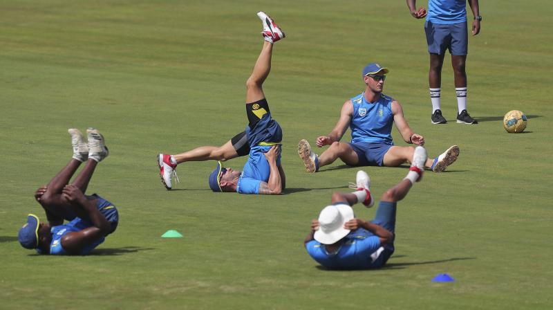 File picture of the South African players going through a practice session. AP Photo