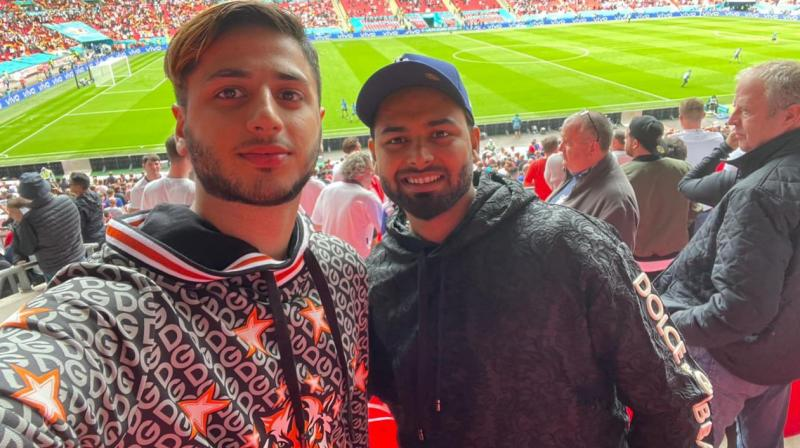 Pant at one of the match of the Euro 2020 at Wembley Stadium. (Photo: Twitter/@RishabhPant17)