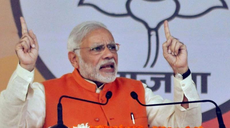 Prime Minister Narendra Modi addressing at BJP's Parivaratan Rally in Moradabad. (Photo: PTI)