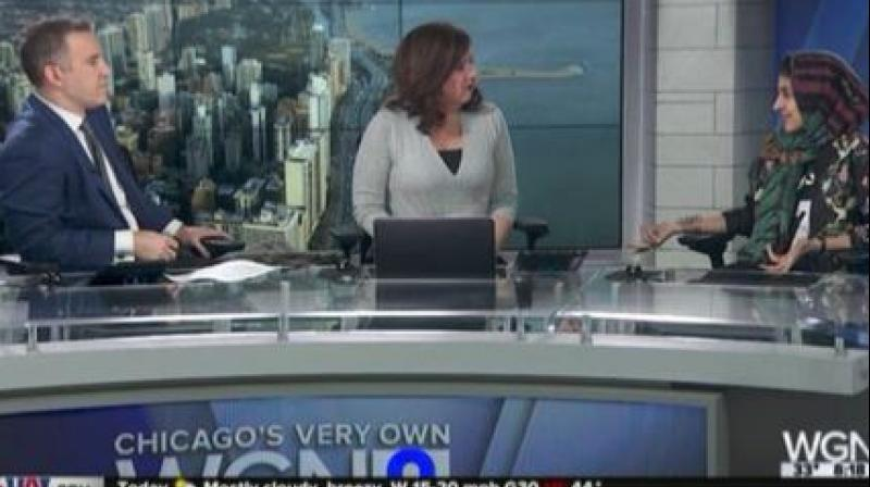 Iranian-American Muslim fashion blogger Hoda Katebi was told during a segment on local Chicago's WGN News' morning show that she 'does not sound American' because of her views, on live television. (Photo: Twitter/Screengrab)