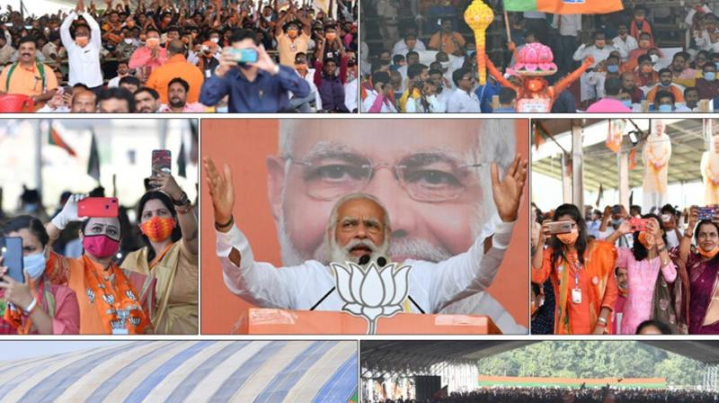 A collage of Modi's ralies posted by @BJP4India