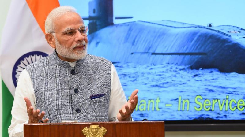 PM Modi while addressing the crew of INS Arihant said, 'The success of INS Arihant enhances India's security needs. It is a major achievement for our entire nation.' (Photo: Twitter | @narendramodi)