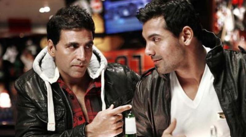 Akshay Kumar and John Abraham in a still from 'Desi Boyz'.