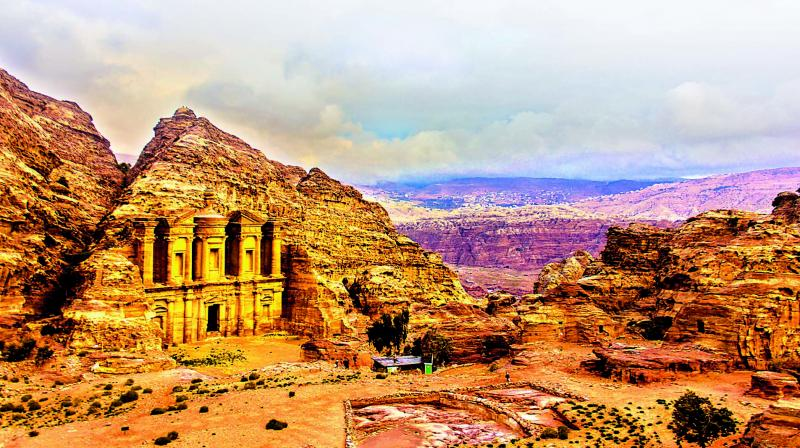 The ethereal landscape of Petra is the perfect setting for the grand yet austere monuments