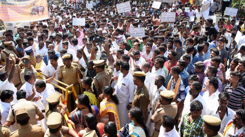 People holding a protest demanding revocation of ban on Jallikattu in Madurai. (Photo: PTI)