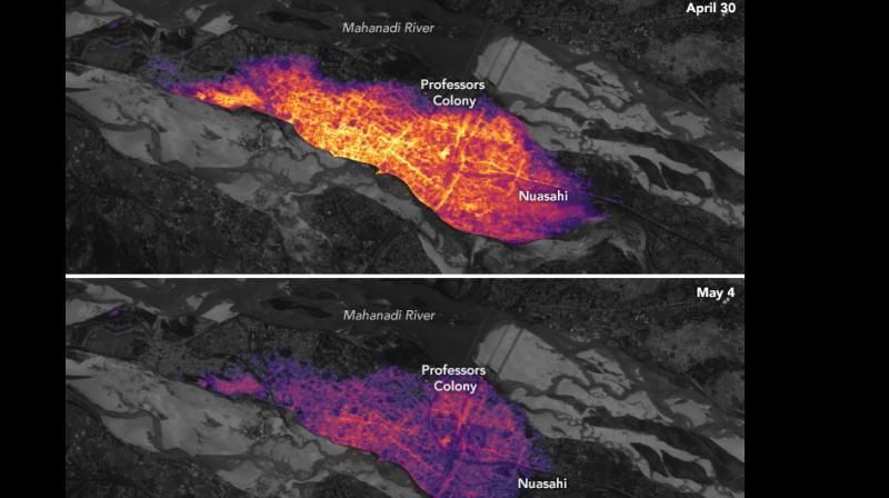 NASA reveals darkness engulfed images post cyclone Fani