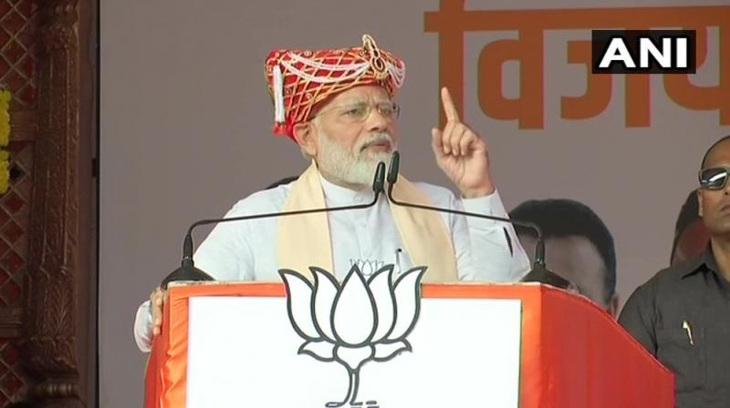Hitting out at the Congress-NCP, Modi said the two parties opposed decisions taken in the interest of national security and national integration. (Photo: ANI)