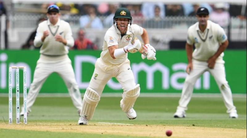 New Zealand took the crucial wicket of David Warner just before lunch as Australia reached 67 for two at the break on the opening day of the second Test on Thursday. (Photo:Twitter)