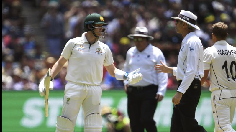 Australia's Steve Smith and on-field umpire Nigel Llong were involved in a heated argument during the ongoing Boxing Day Test between Australia and New Zealand at the Melbourne Cricket Ground (MCG) here on Thursday. (Photo:AFP)