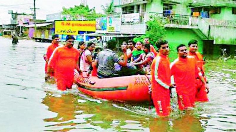 People being evacuated in Chennai.
