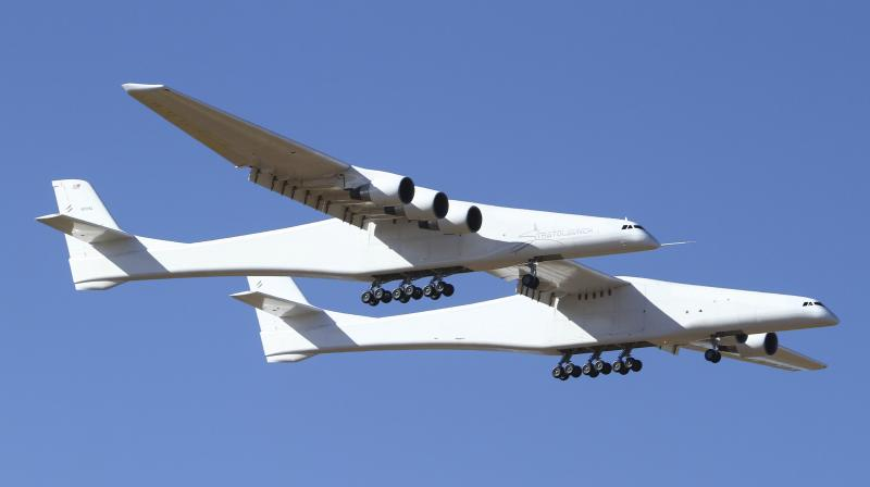 Stratolaunch a giant six-engine aircraft with the world's longest wingspan, makes its historic first flight from the Mojave Air and Space Port in Mojave California