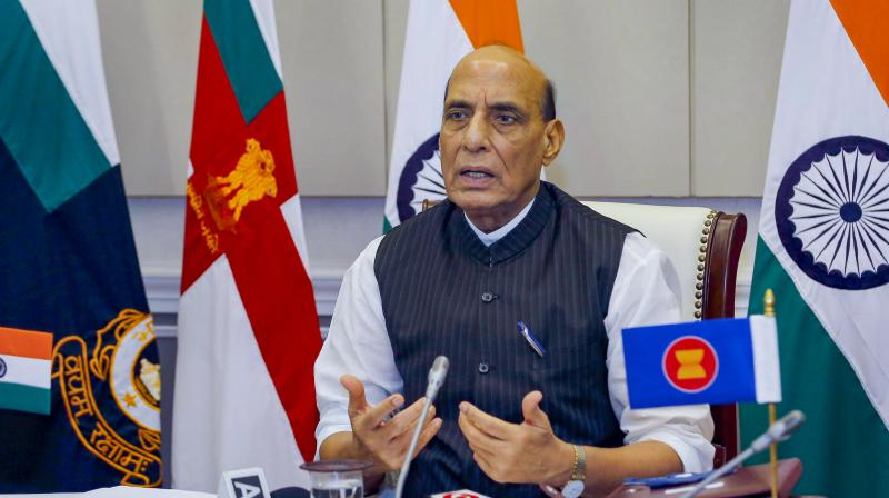 Defence Minister Rajnath Singh addresses the ASEAN Defence Ministers' Meeting Plus (ADMM-Plus) via video conference, in New Delhi, Wednesday, June 16, 2021. (PTI Photo)