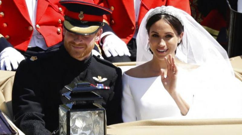 Prince Harry and Meghan Markle on their wedding day. (Photo: AP)