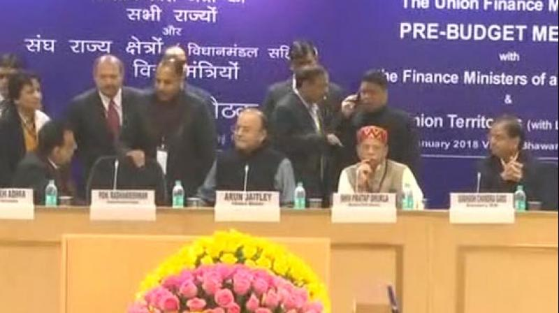 The meet was part of the customary pre-Budget consultation which the Union Finance Minister holds with his state peers. (Photo: ANI)
