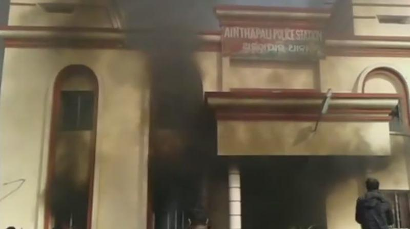 The mob set ablaze vehicles parked in the premises of the police station, protesting 22-year-old Avinash Munda death, who was taken into police custody on a theft case and was found hanging inside the police lockup Thursday night. (Photo: ANI)