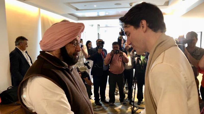 Trudeau's defence minister Harjit Sajjan, a Sikh, also joined the meeting with Punjab Chief Minster Amarinder Singh. (Photo: Twitter/@capt_amarinder)