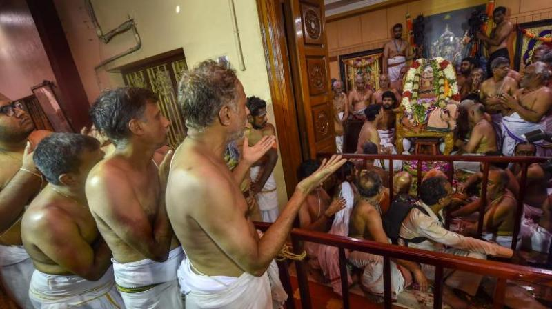 Junior pontiff Sri Vijayendra Saraswathi performed several rituals starting around 7 am. The rituals included abhishekam, puja and arati. However, people from outside were not allowed to participate in the rituals. (Photo: PTI)