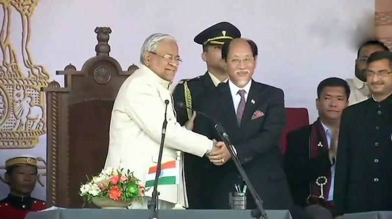 Nagaland Governor P.B. Acharya administered the oath of office and secrecy to Neiphiu Rio and his 11 Council of Ministers. (Photo: ANI/Twitter)