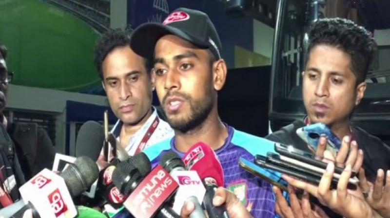 Ahead of the day-night Test against India, Bangladesh spinner Mehidy Hasan has revealed that the side's pacers are preparing for the pink-ball Test by dipping the ball into water to negate the dew factor. (Photo:ANI)