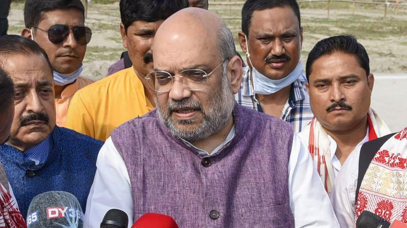 Union Home Minister Amit Shah addresses media representatives, at Sualkuchi in Kamrup, Sunday, April 4, 2021. (PTI)