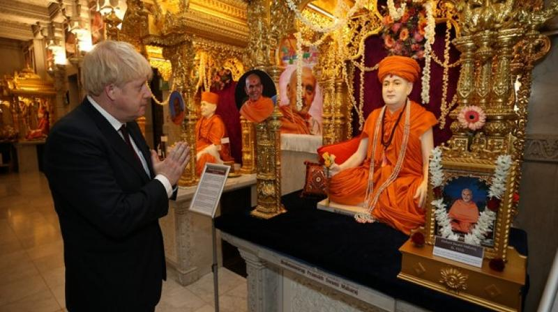 During his visit, Johnson met several leaders of other Hindu organisations and members of the Hindu community, according to temple authorities. (Photo: ANI)