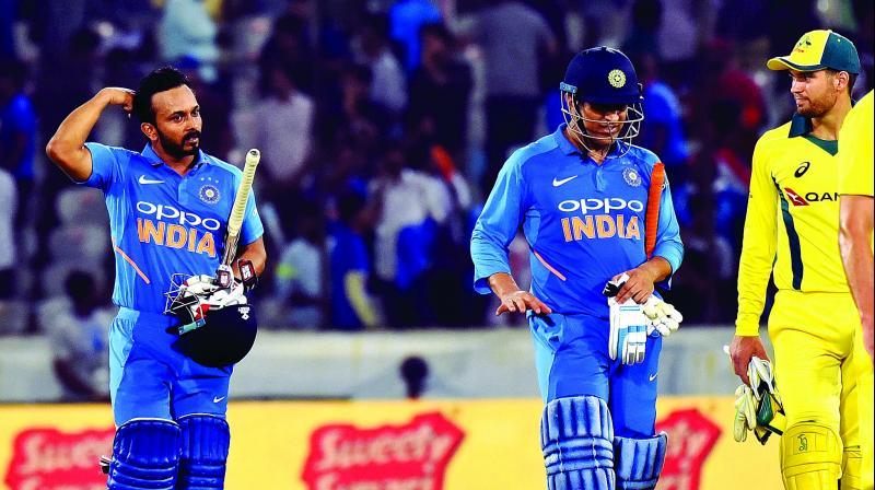 Kedar Jadhav scored an unbeaten 81 against Australia in the first ODI at Hyderabad on Saturday. (Photo: S. Surender Reddy)