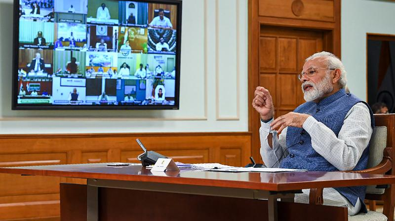 Video grab of prime minister Narendra Modi in a video conference with chief ministers to discuss how to end the 21-day coronavirus lockdown. (PTI Photo)
