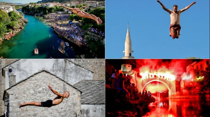 More than 10,000 spectators converged on the southern Bosnian city at the weekend to watch 41 daring men take a jump from the 27-meter-high historic Old Bridge into the cold, fast-flowing Neretva River below, as part of the Mostar's 451st annual diving competition. (Photo: AP)
