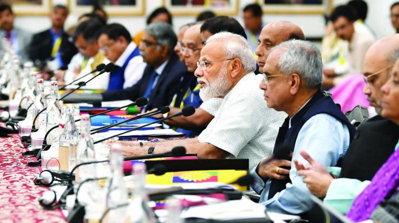 Prime Minister Narendra Modi chairs the fifth meeting of the governing council of the Niti Aayog in New Delhi on Saturday. (Photo: PTI)