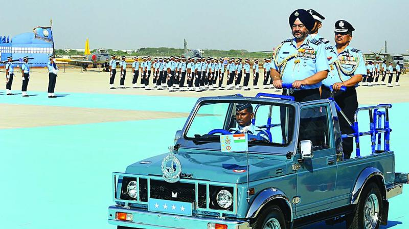 Chief of the Air Staff Air Chief Marshal B.S. Dhanoa reviews the Combined Graduation Parade at Air Force Academy in Dundigal near Hyderabad on Saturday. (Photo: PTI)